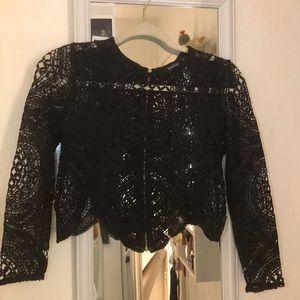 Black crochet lace top